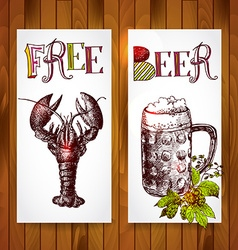 Vertical banners beer and crawfish vector