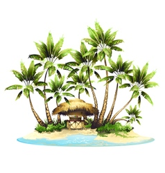 Tropical island in ocean vector