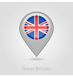 United kingdom flag pin map icon vector