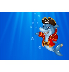 Cartoon shark pirate swimming in the ocean vector