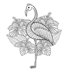 Coloring page with flamingo in hibiskus zentangle vector