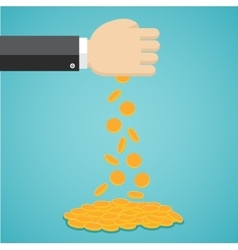 Falling gold coins from hand vector