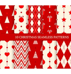 10 christmas different seamless patterns vector
