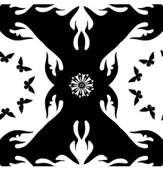 Monochromatic pattern with butterflies and flowers vector