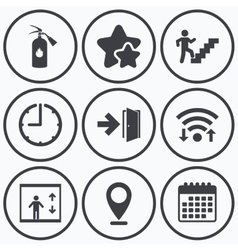Emergency exit icons door with arrow sign vector