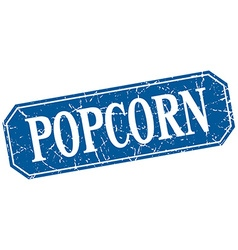 Popcorn blue square vintage grunge isolated sign vector
