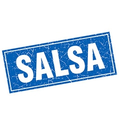 Salsa blue square grunge stamp on white vector