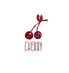 Hand drawn logo with cherry vector