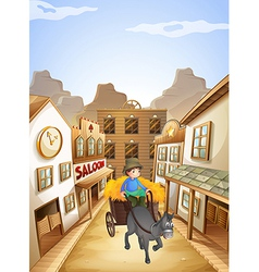 A farmer near the saloon bar vector image vector image