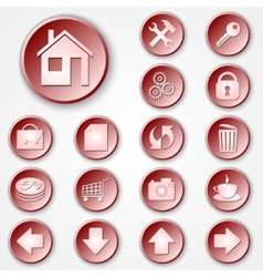 abstract red round paper icon set vector image vector image