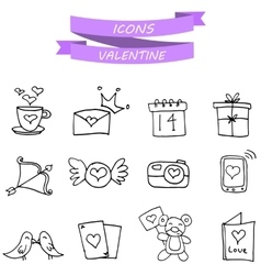 Art valentine icons with hand draw vector