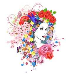 Beautiful fashion young woman with flowers in hair vector