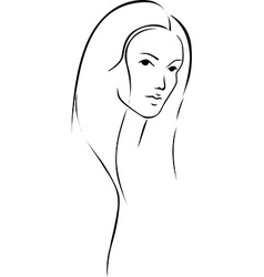 Beautiful young woman with long hair - black line vector