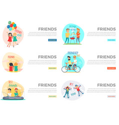 Best friends day forever web collection on white vector
