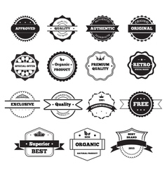 Black and white retro stamps and badges isolated vector