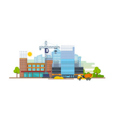 building house premises with help transport vector image vector image
