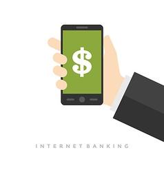 Business man hand holding smart phone vector