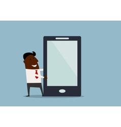 Businessman making presentation on a tablet vector image vector image