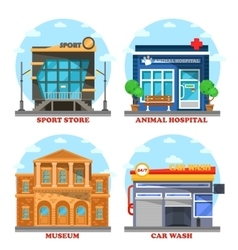 Car wash and veterinary shop sportswear store vector