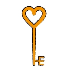 Cartoon golden key shaped heart vector