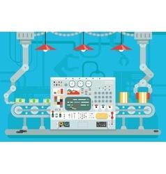 Control panel conveyor robot manipulators vector image vector image