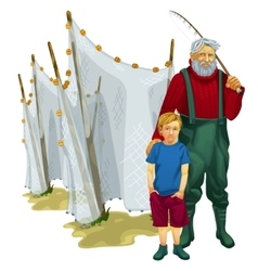 Father and son with fishing tackle vector