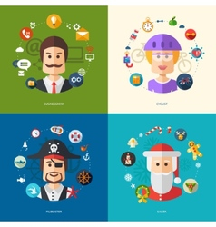 flat design business with people professions vector image vector image
