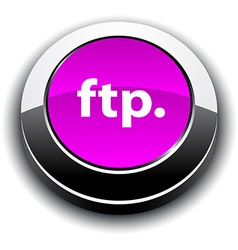 Ftp 3d round button vector