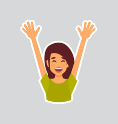 Girl cheerful raised hands sticker for messenger vector