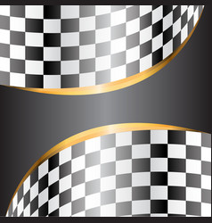 gray banner and gold line on checkered curve vector image vector image