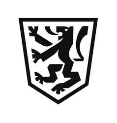 Heraldic lion on shield vector