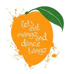 Isolated orange mango fruit silhouette vector