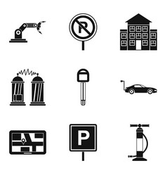 Lack of parking icons set simple style vector
