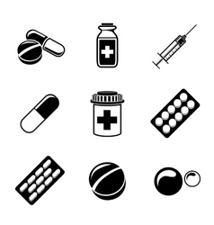 Medicine drugs monochrome icons set with - pills vector