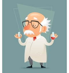 Old Scientist with Test-tube Icon Retro Cartoon vector image