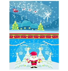 Set of Christmas and New Years banners funny santa vector image