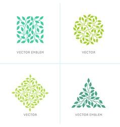 Set of organic and natural logo design templates vector