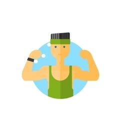 Sporty guy round sticker vector