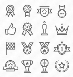 trophy and prize symbol line icon set vector image vector image