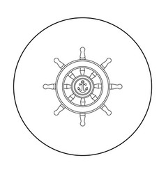 Wooden ship steering wheel icon in outline style vector