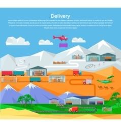 Worldwide warehouse design flat vector