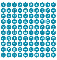100 sea life icons sapphirine violet vector