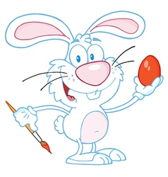 White rabbit painting easter egg vector