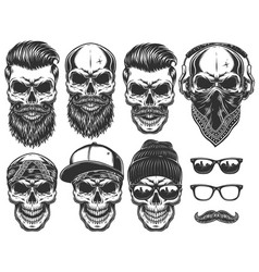 Set of different skull characters with different vector