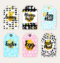 Trendy happy easter gift labels vector