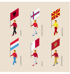 isometric people with flags of european countries vector image