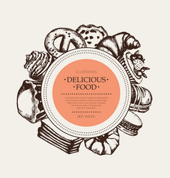 Delicious food - monochromatic hand drawn round vector