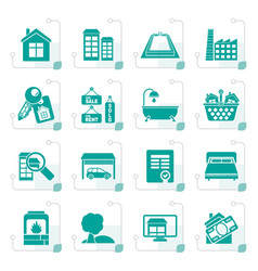 Stylized real estate objects and icons vector