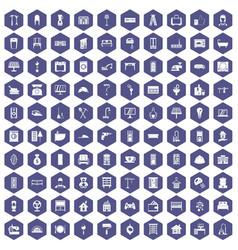 100 comfortable house icons hexagon purple vector