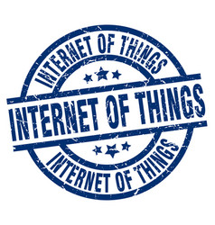 Internet of things blue round grunge stamp vector